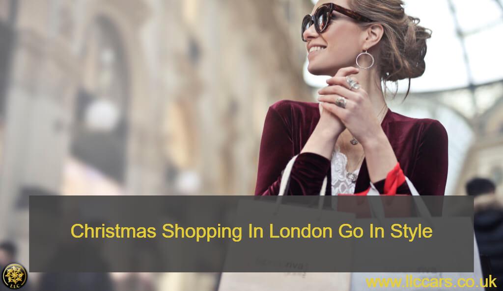 woman doing christmas shopping in chauffeured car
